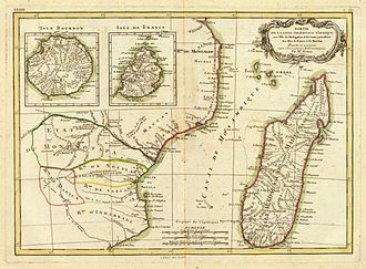 Portuguese India Armadas -  French map of Mozambique Channel, c. 1791