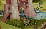Bosch, Hieronymus - The Garden of Earthly Delights, center panel - Detail hybrid stone formation with tubes.jpg