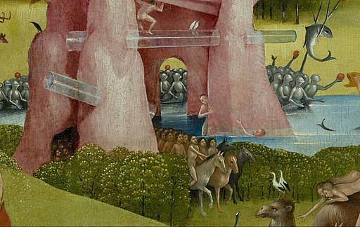 Bosch, Hieronymus - The Garden of Earthly Delights, center panel - Detail hybrid stone formation with tubes