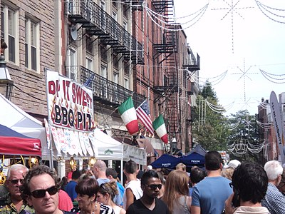 The American and Italian flags in Boston's North End Boston North End.JPG
