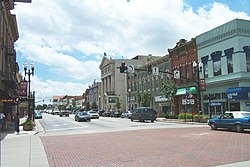 South Main Street, as seen from the intersection of Main and Wooster in Bowling Green.