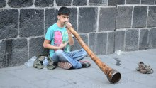 File:Boy playing Mayan trumpet opposite of Palacio Nacional, Mexico City, Mexico.webm