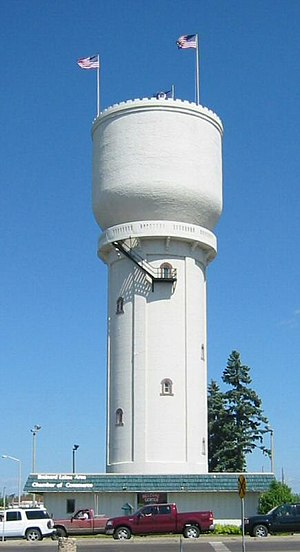 Brainerd, Minnesota - The water tower along Minnesota Highway 210 in downtown Brainerd serves as a symbol of the community