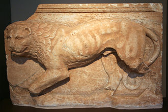 History of lions in Europe - Lion sculpture, 4th century BC, Koropi, Greece