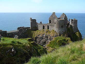Randal MacDonnell, 1st Marquess of Antrim (1645 creation) - The remains of Dunluce Castle in County Antrim, the main residence of the Marquess for much of his life.