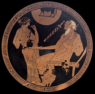 Hecamede - For some, this cup shows Hecamede mixing kykeon for Nestor. Tondo of an Attic red-figure cup, ca. 490 BC. From Vulci.