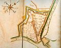 Brugse Poort, Ghent, Belgium, old map 1696.jpg