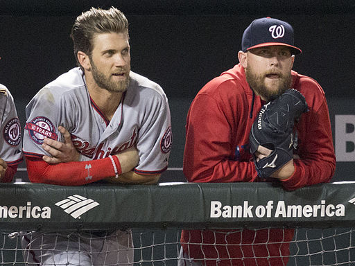 Bryce Harper and Drew Storen on July 11, 2015