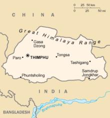 Mapa do Reino do Butão