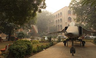 Jamia Millia Islamia - A fighter jet of the Indian Air Force stands in front of the Faculty of Engineering
