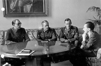 Wehrmacht foreign volunteers and conscripts - Andrey Vlasov and General Shilenkov (center) of the Russian Liberation Army meeting with Joseph Goebbels (February 1945)