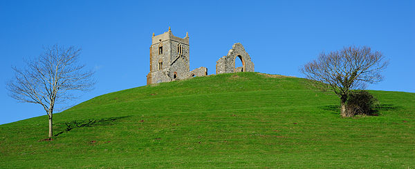 Burrow Mump is the hill upon which the ruins of St Micheal's church reside.