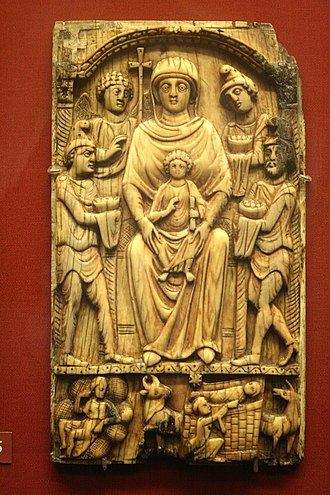 Gospel of James - Ivory panel with the Adoration of the Magi (6th century AD). At bottom centre, a kneeling woman — Salome — holds out her withered hand towards the infant Christ; this story only features in the Gospel of James.