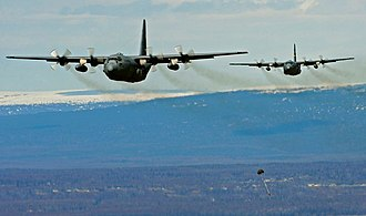 537th Airlift Squadron - C-130 Hercules aircraft of the 537th Airlift Squadron on an airdrop training mission near Joint Base Elmendorf-Richardson