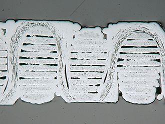 Ceramic matrix composite - Micrograph of a SiC/SiC ceramic composite with a woven three-dimensional fibre structure