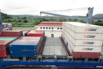 CSAV - CSAV containers on a ship in the Panama Canal.