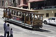 A cable car descending Nob Hill