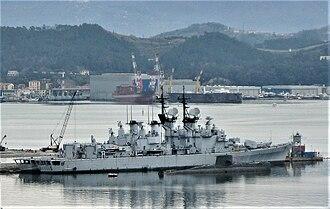 Audace-class destroyer - Image: Cacciatorpediniere Ardito e Audace in disarmo