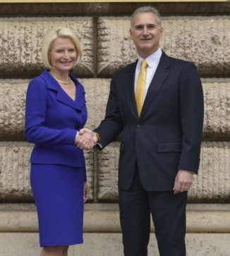 Callista Gingrich arrives in Rome