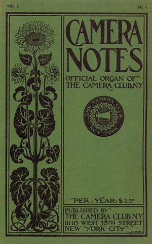 Camera Notes - Cover of Camera Notes, Vol 1 No 4, 1898. Cover design by Thomas A. Sindelar.