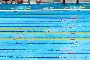 Cameron Leslie - Leslie in front at the 2012 Summer Paralympics Men's 150m Individual Medley SM4 swimming final.