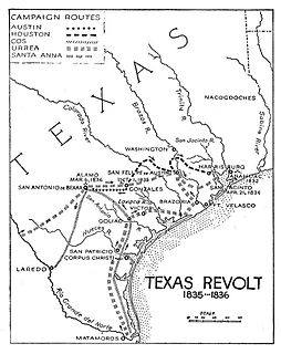 Texas Revolution rebellion of colonists from the United States and Tejanos against the Mexican government