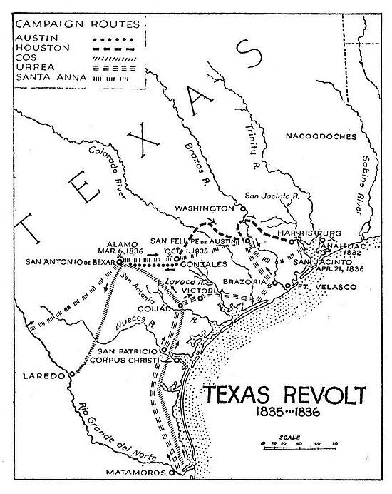 The campaigns of the Texian Army during the Texas Revolution Campaigns of the Texas Revolution.jpg