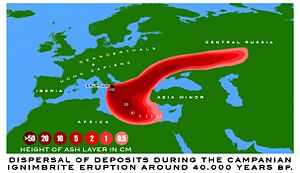 Map of Europe showing a red splotch over the Italian Peninsula stretching out to the east over Central Russia and over the Aegean and Ionic Seas, 50cm of ash centring, decreasing to 10cm beyond, and steadily decreasing to 0