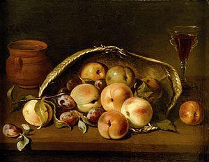 Pedro de Camprobin - Malocotones Basket and Plums by Pedro de Camprobin, Museo del Prado, 1654