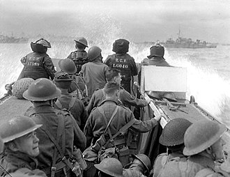 Juno Beach - Canadian troops moving towards Juno