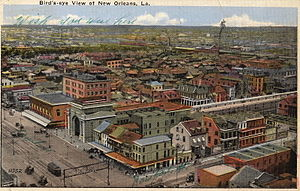 Southern Railway Terminal (New Orleans) - Postcard - Southern Railroad Terminal seen from atop Roosevelt Hotel