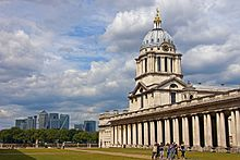 Canary Wharf and Greenwich Hospital chapel building.jpg