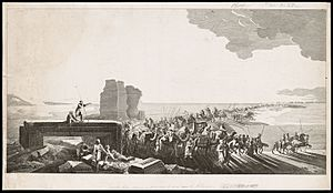 Louis-François Cassas - Etching after Louis-François Cassas showing an imagined caravan arriving at the ancient site of Palmyra, Syria. Created ca. 1799.
