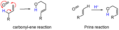 Scheme 6. Carbonyl-ene reaction versus Prins reaction