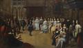 Carlos II de Inglaterra e Catarina de Bragança na Old Somerset House - Escola Inglesa (séc. XVII).png