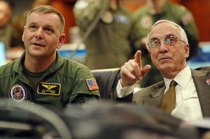 James Cartwright - Cartwright (left) and Deputy Defense Secretary Gordon R. England watching the progress of an SM-3 anti-ballistic missile in 2008
