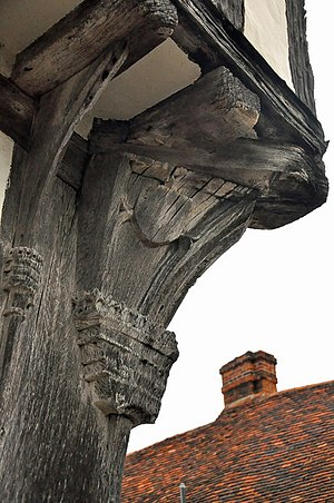 Dragon beam - Carved dragon post below a dragon beam - The Old Wool Hall, Lavenham - geograph.org.uk - 1546714