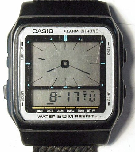 Casio AE12 LCA (liquid-crystal-analog) watch Casio AE12.jpg