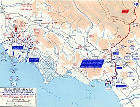 Układ sił w rejonie Anzio i Cassino na początku roku 1944 (Ten utwór znajduje się w domenie publicznej w Stanach Zjednoczonych, ponieważ jest utworem Rządu Federalnego Stanów Zjednoczonych w rozumieniu Tytułu 17, Rozdziału 1, Sekcji 105 Kodeksu Stanów Zjednoczonych.)