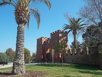 Castelldefels Castle - The decorative main gate dates to the end of the 19th century
