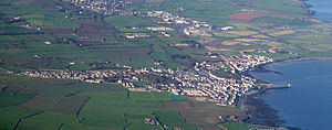 Crown dependencies - Aerial view of Castletown, Isle of Man