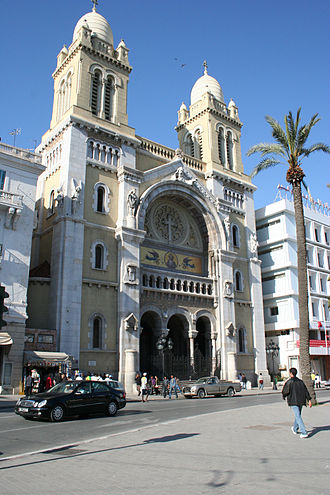Italian Tunisians - Tunis Catholic cathedral, built in Roman-Byzantine style.