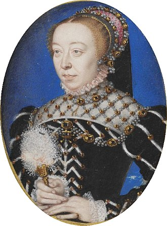 Jeanne d'Albret - Queen Mother and French regent Catherine de' Medici. Following the Peace of Saint-Germain-en-Laye, Jeanne and Catherine arranged a marriage of convenience between their respective children