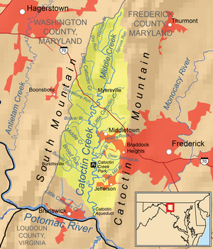 Catoctin Creek (Maryland) - Map of the Catoctin Creek drainage basin, urban areas are in red.