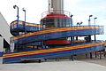 Cedar Point Space Spiral cabin at station in June 2011 (5903715919).jpg