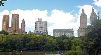 Housing cooperative - Housing cooperatives on Central Park West in Manhattan, New York City, from left to right: The Majestic, The Dakota, The Langham, and The San Remo.