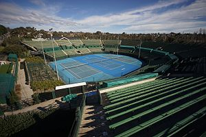 Kooyong Stadium - Image of centre court and grandstand seating of Kooyong tennis stadium in Melbourne Australia.
