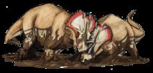 Dois Centrossauros em uma luta
