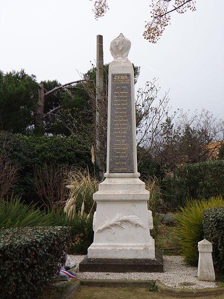 Cers (Hérault) - monument aux morts.