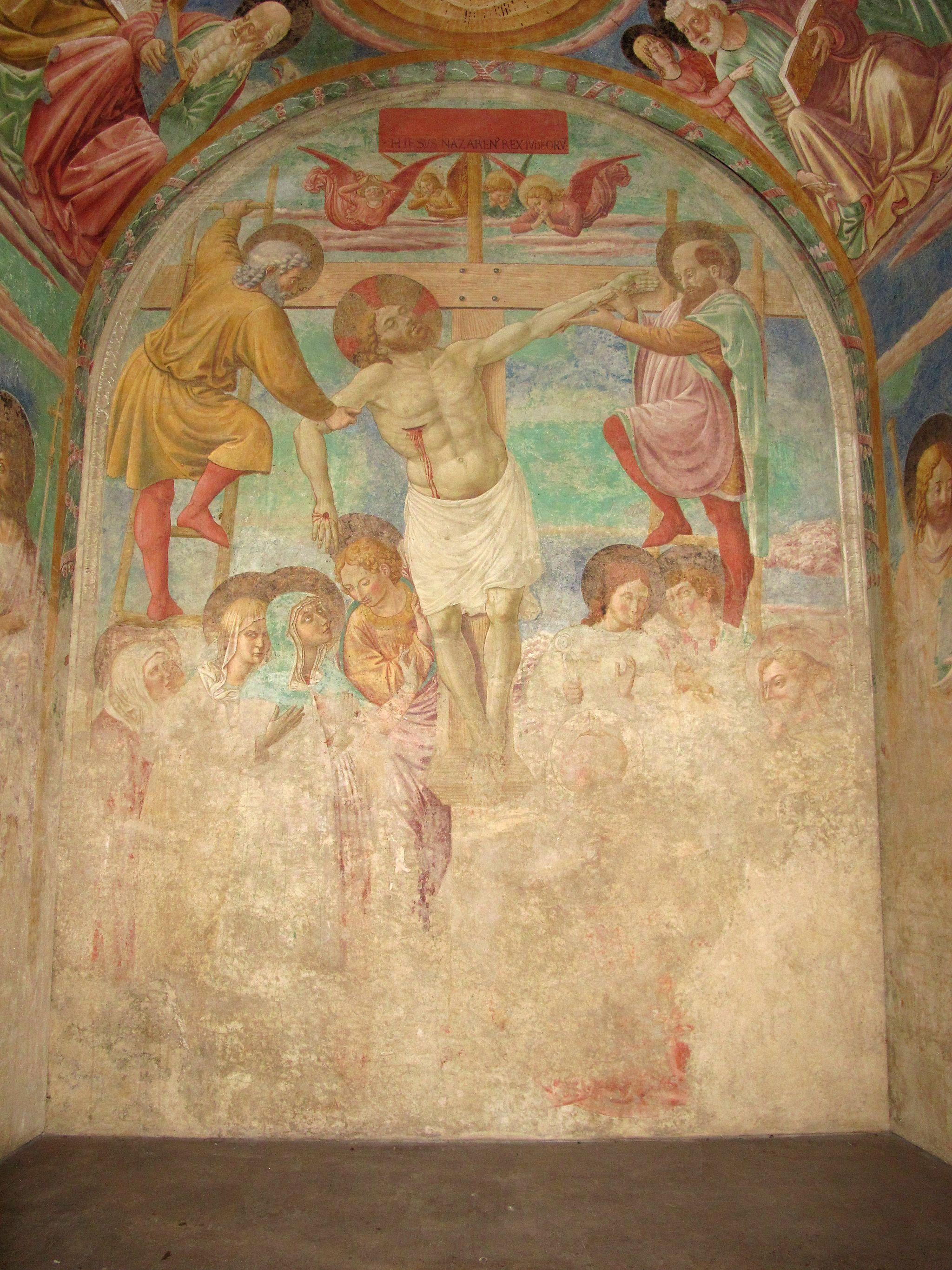 Certaldo, affreschi del tabernacolo dei giustiziati (Deposizione dalla Croce, facciata principale, dettaglio), opera di Benozzo Gozzoli